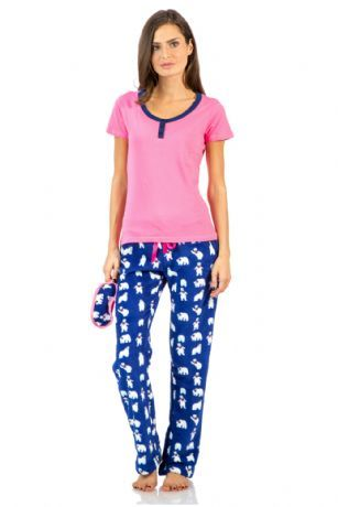 Ashford   Brooks Women s Cotton Top Eye mask   Coral Fleece Pants Pajama Set  - Pink Navy - This Ashford   Brooks Women s Short Sleeve Knitted Cotton Top  ... cd1f1c048