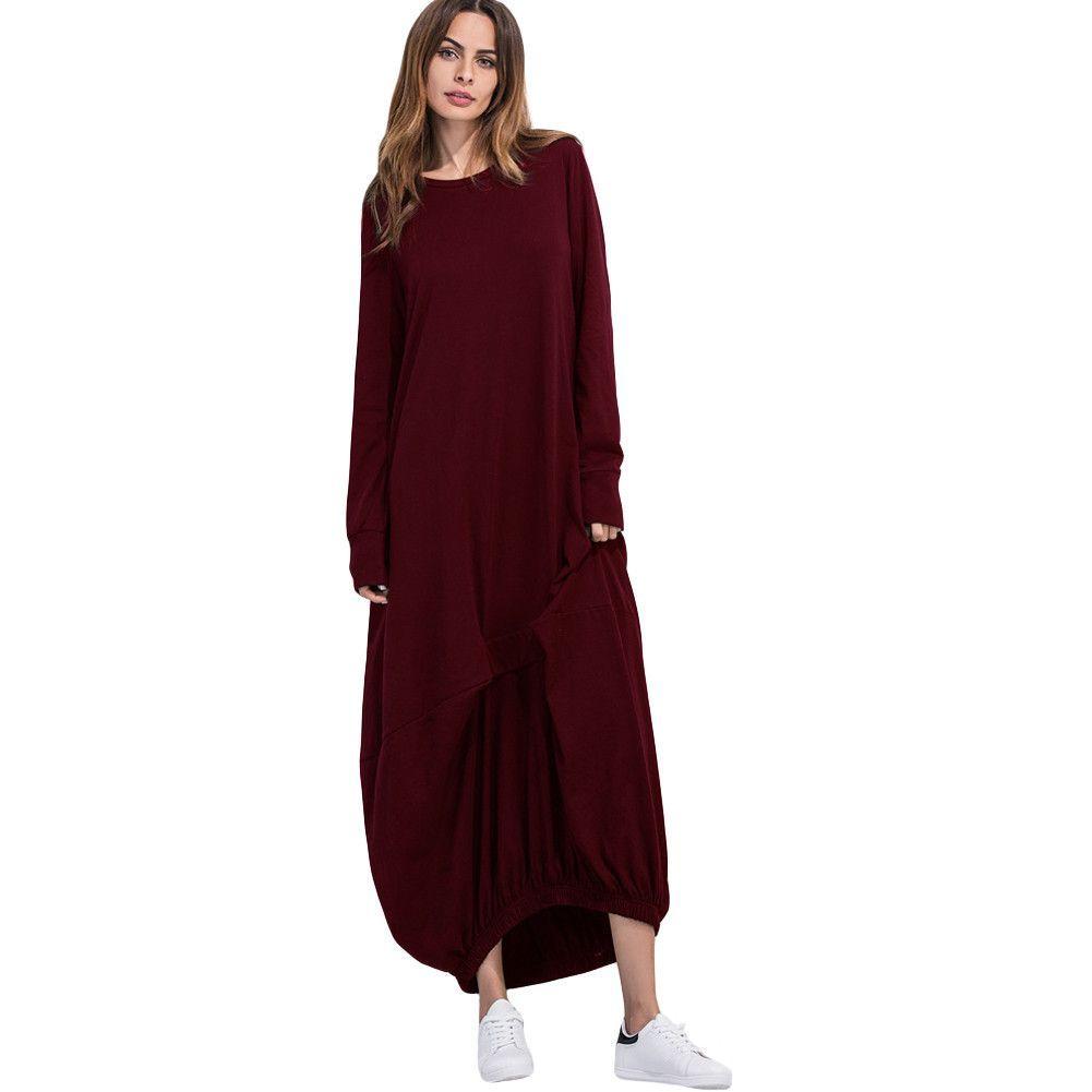 Photo of Casual Maxi Dress Solid O-Neck Full Sleeve Ruffled Elasticated Hem Loose Long Pullover Dress Robe Femme