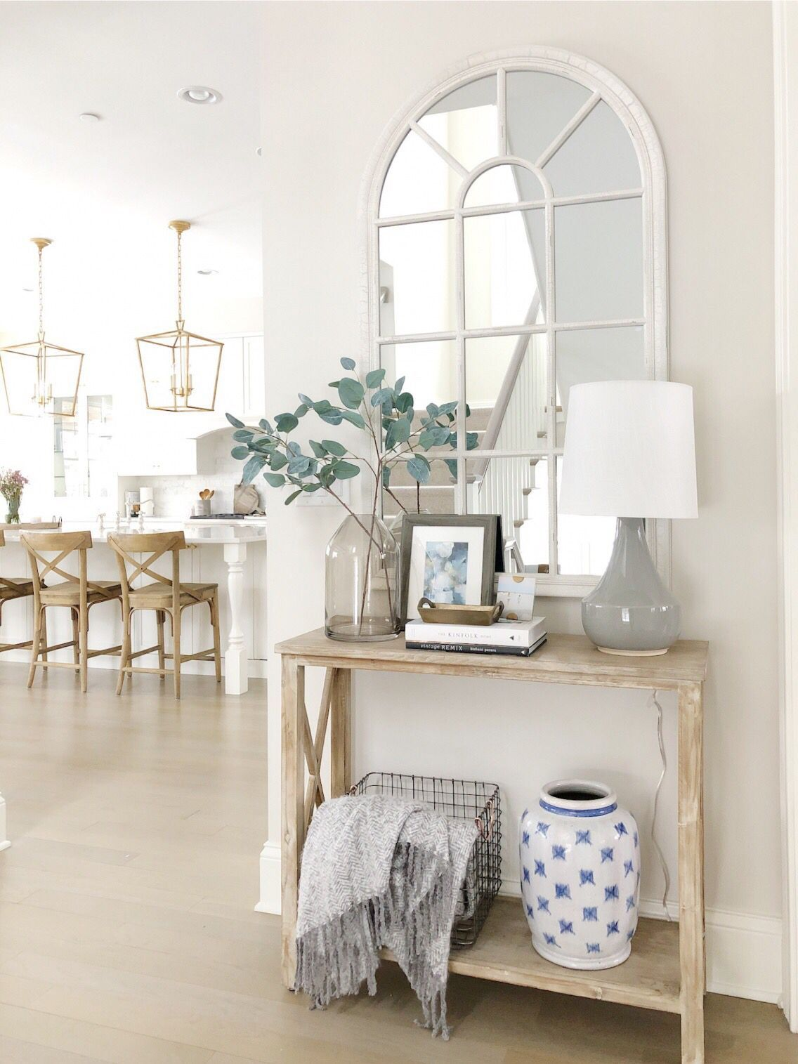 Entry Way Styling Benjamin Moore Classic Gray Wood Console Table Arched Mirror Neutral Decor Wood Stools Brass K Entry Decor Home Home Decor Accessories