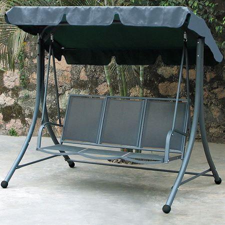 stabile 3 sitzer hollywoodschaukel mit textilbezug und polyesterdach garten tisch stuhl liege. Black Bedroom Furniture Sets. Home Design Ideas