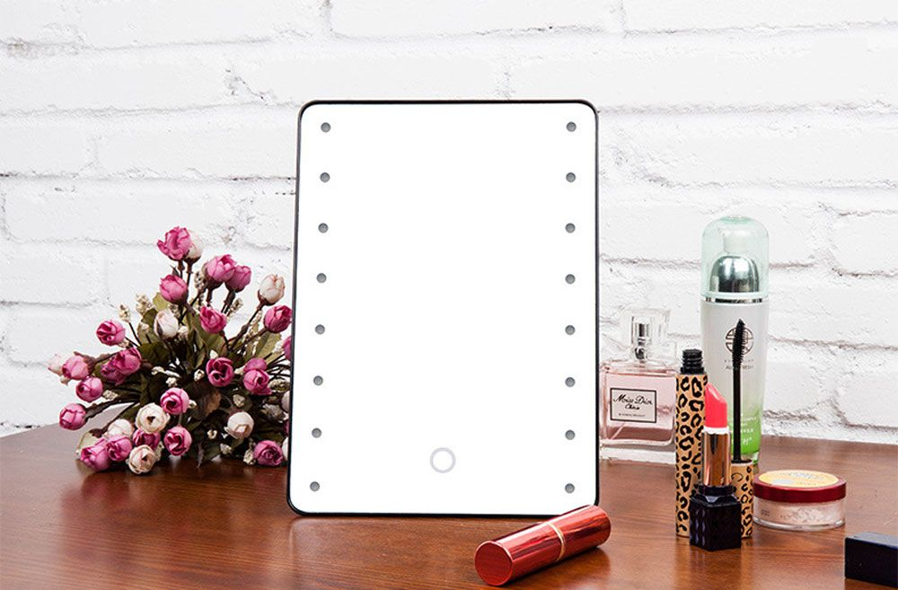 Superior Make Up Cosmetic Mirror 16 LEDs Lighted Makeup Mirror Portable Touch Screen  Adjustable Vanity Tabletop