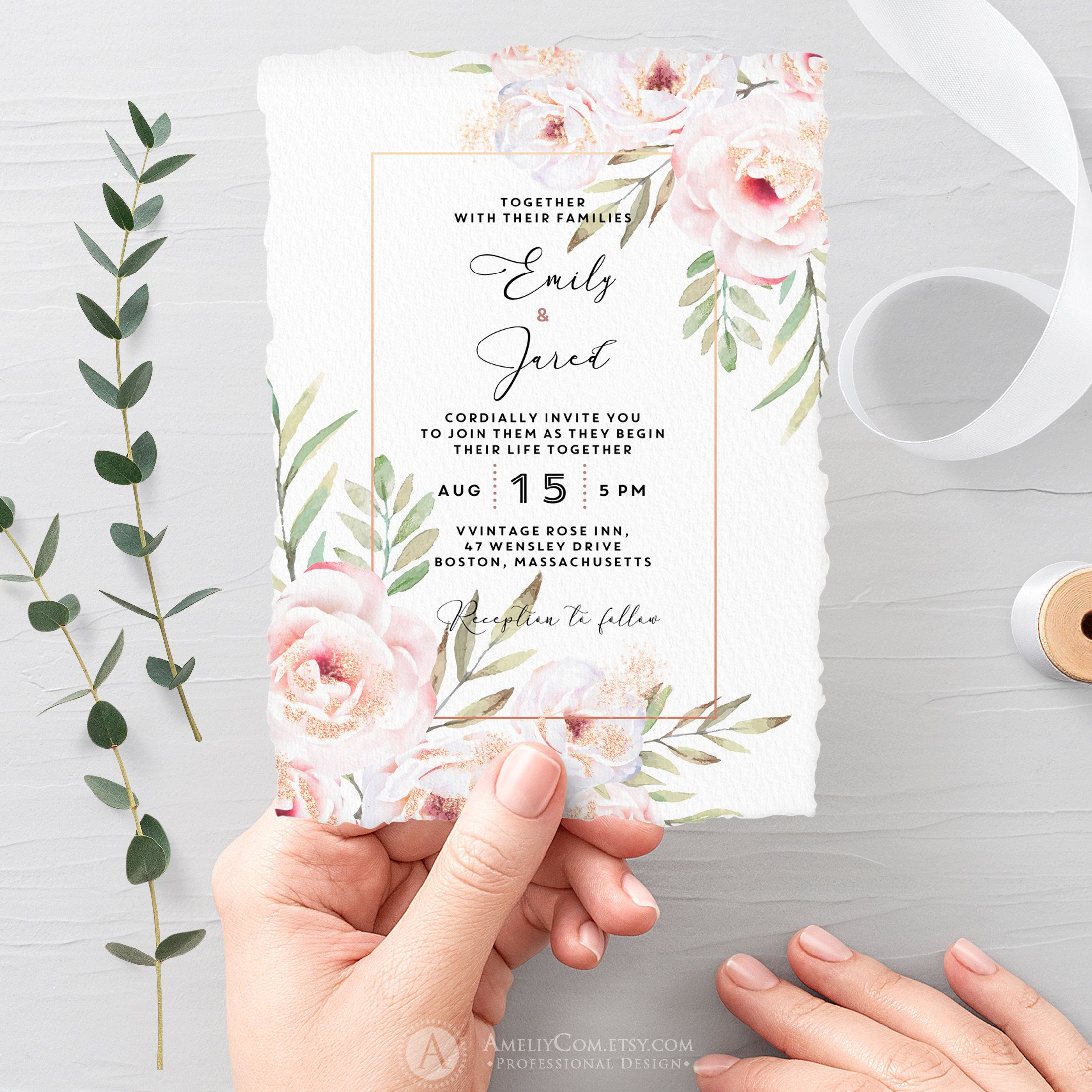Floral Wedding Invitation Printable With Entourage Floral Wedding Invitations Printable Wedding Invitations Printable Wedding Invitations