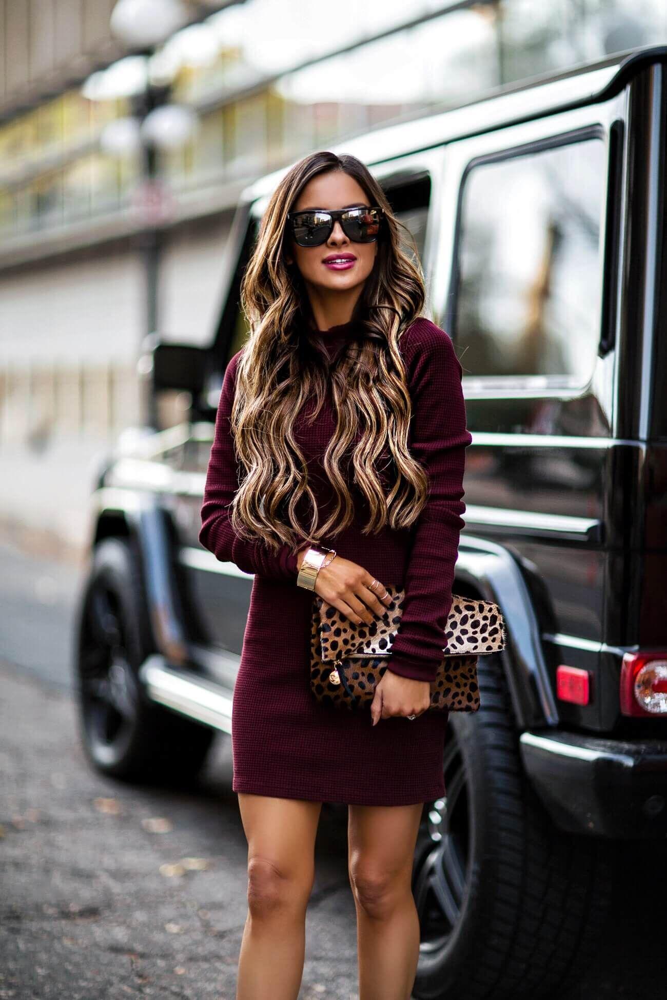 ac474736e80 fashion blogger mia mia mine wearing a burgundy dress from intermix and saint  laurent sunglasses