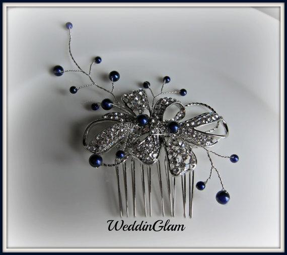 Wedding Hair Accessories Fascinator Vine Tiara Navy Blue Pearls Rhinestone Comb Vintage Inspired Mother Of The Bride