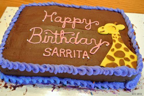 Fudge-Frosted Birthday Cake w/ Fondant Giraffe
