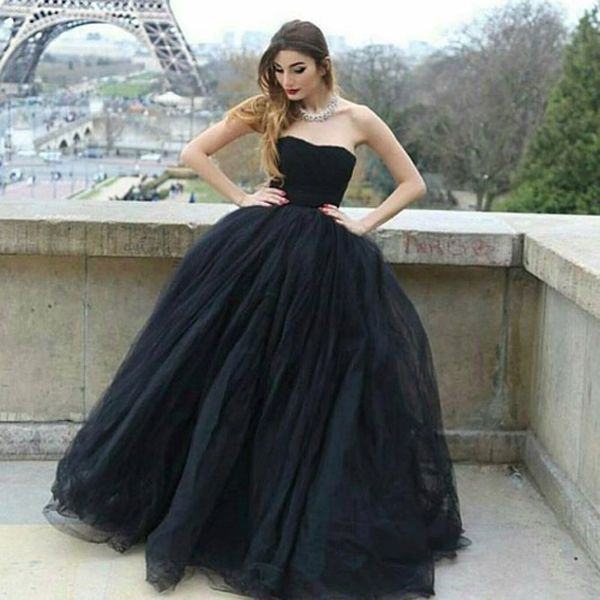 Modern Ball Gown Strapless Black Tulle Long Prom/Evening Dress P0311 #promdresses #longpromdresses #2018promdresses #fashionpromdresses #charmingpromdresses #2018newstyles #fashions #styles #teens #teensprom