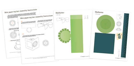 Templates For Mad Hatter Hat Green With Label Mini Printable Paper Top
