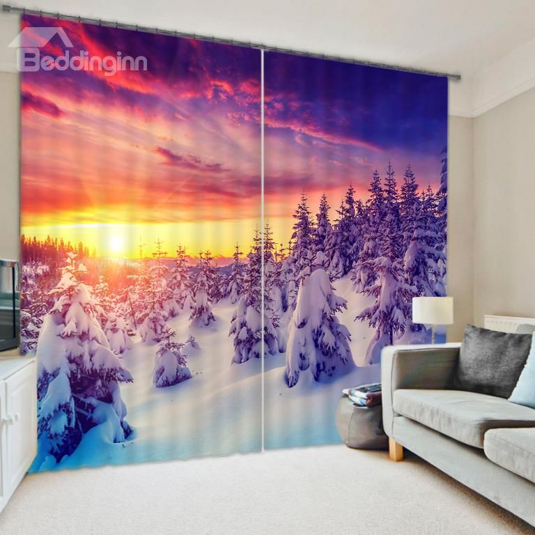 Beautiful Snowy Forest Sunset Scenery 3D Blackout Curtain