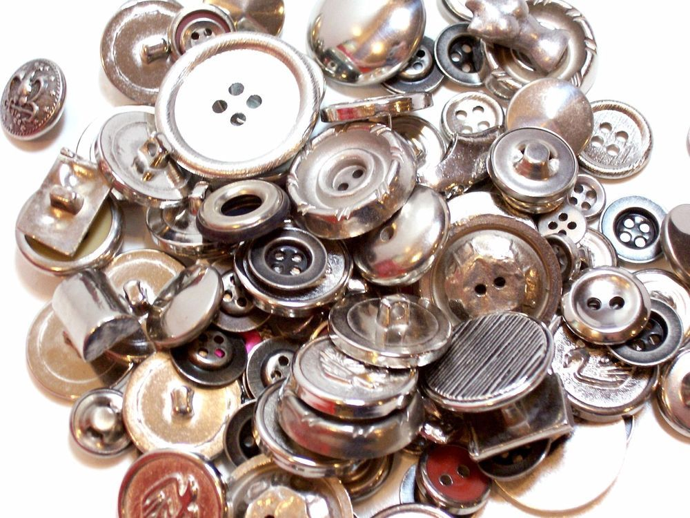 Mixed Silvertone Metal Buttons, New Old Stock Garment Buttons, 100 pieces, # 4