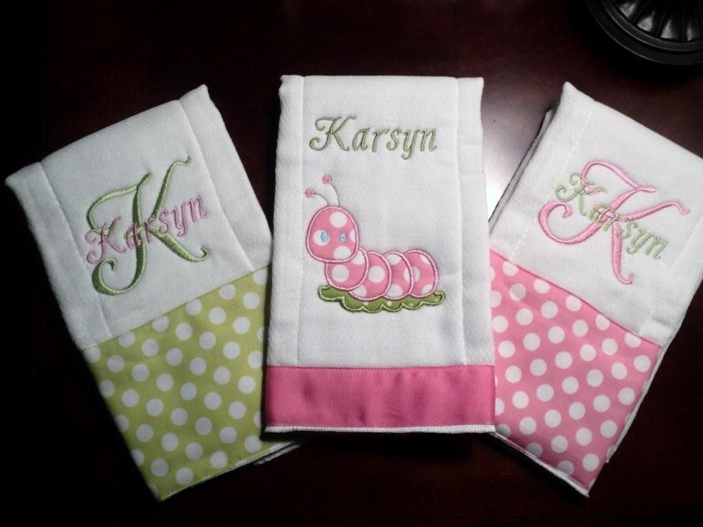 Personalized baby burp cloth set of 3rfect for a girl baby personalized baby burp cloth set of 3rfect for a girl baby shower 3099 negle Gallery