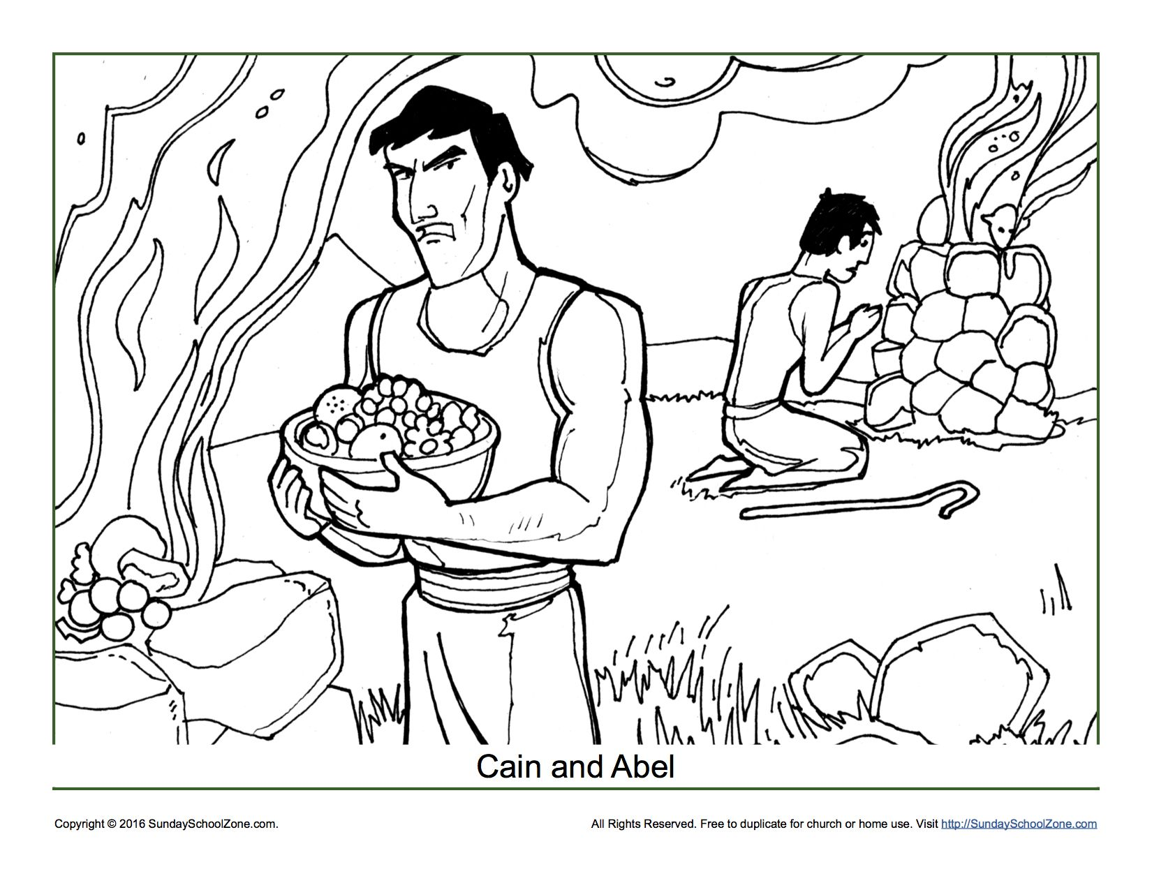 Cain and Abel Coloring Page | Sunday school, Bible activities and ...
