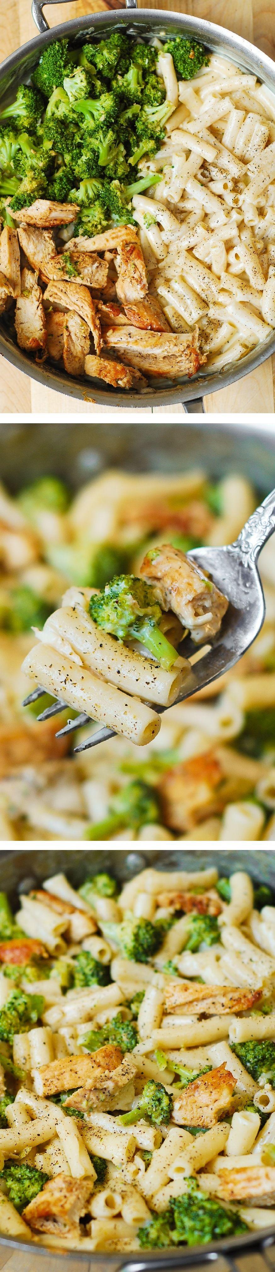 Delicious, creamy chicken breast, broccoli, garlic in a simple, homemade cream sauce. My favorite alfredo pasta!