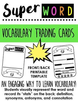 Super Word Vocabulary Trading Card Template A Fun Way To Teach Vocab Trading Card Template Phonics Words Vocabulary
