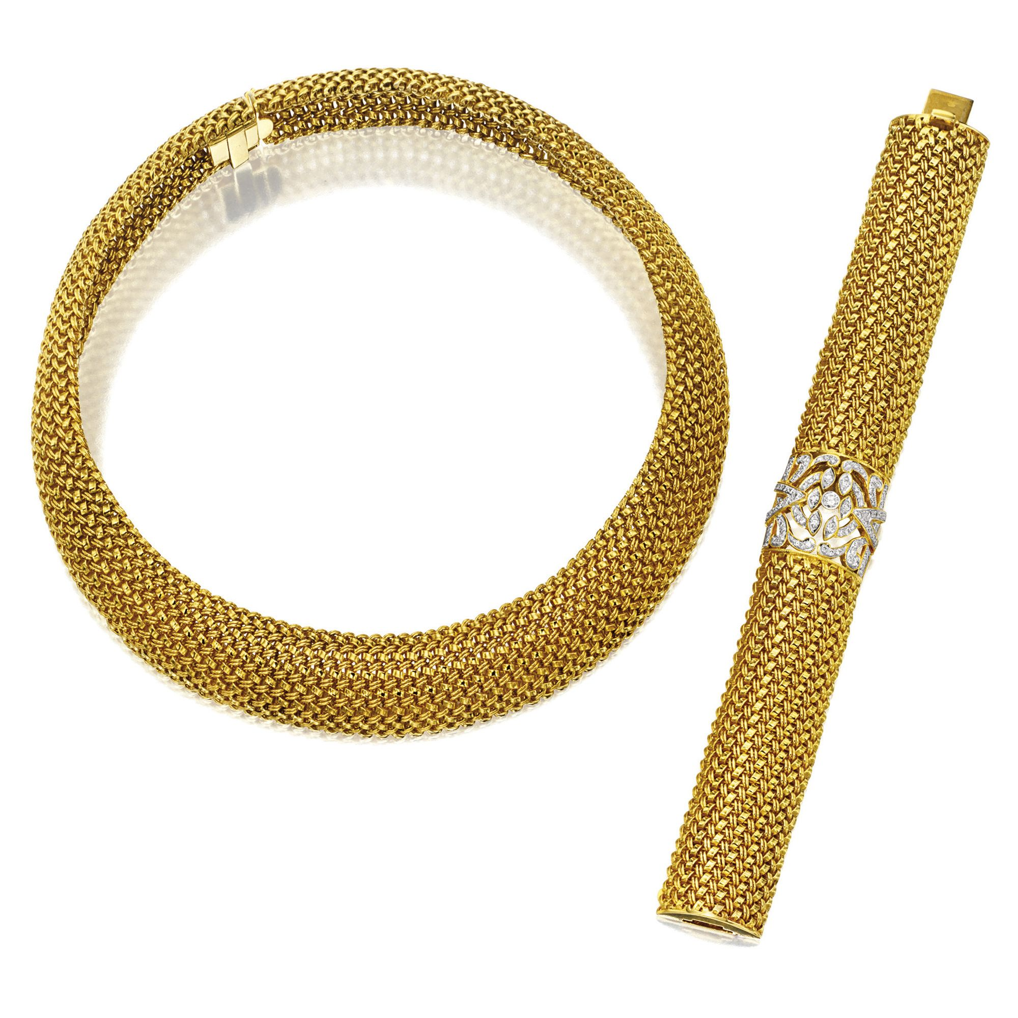karat gold necklace and a matching gold and diamond bracelet the