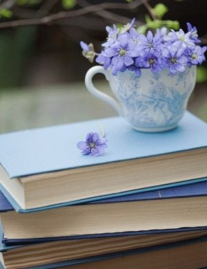 Blue and white teacup. Blue flowers. Blue books.
