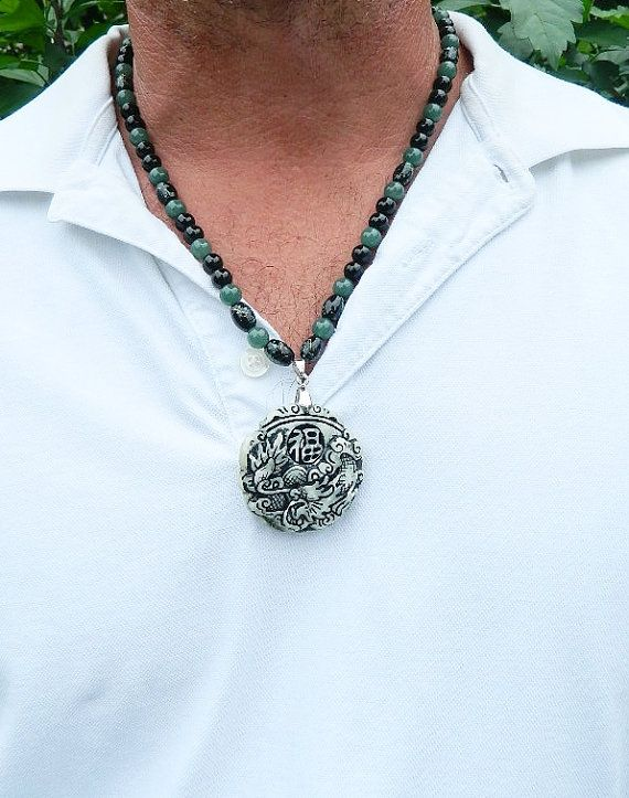 Necklace for men jade pendant by JewelrybyDecember67 on Etsy 4500