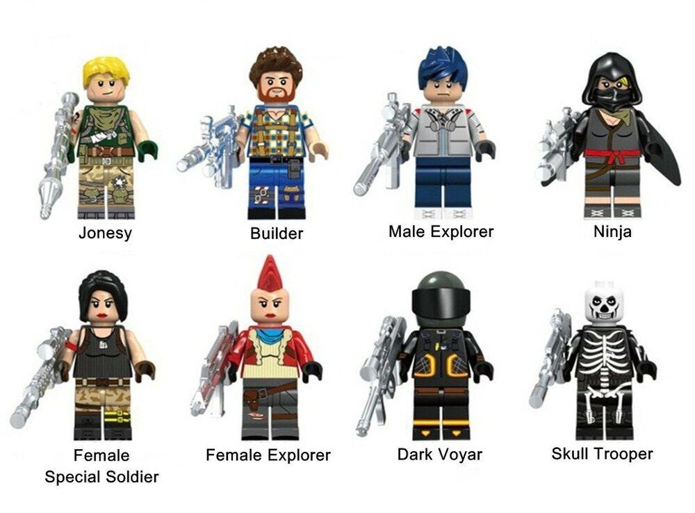 Explorer Skull Trooper Figure Custom Lego Minifigures Fortnite Battle Royale