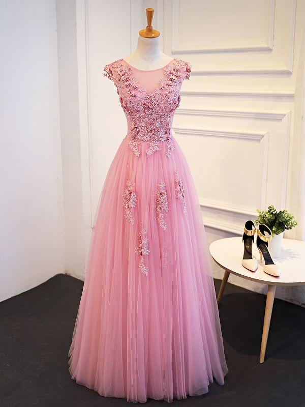 Blue Lace Appliques Scoop Floor Length A Line Prom Dress Lace Up