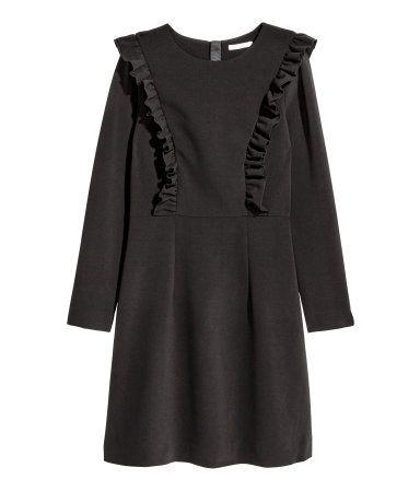 Kleid mit Volants | Schwarz | Damen | H&M DE | H&M Kleider ...
