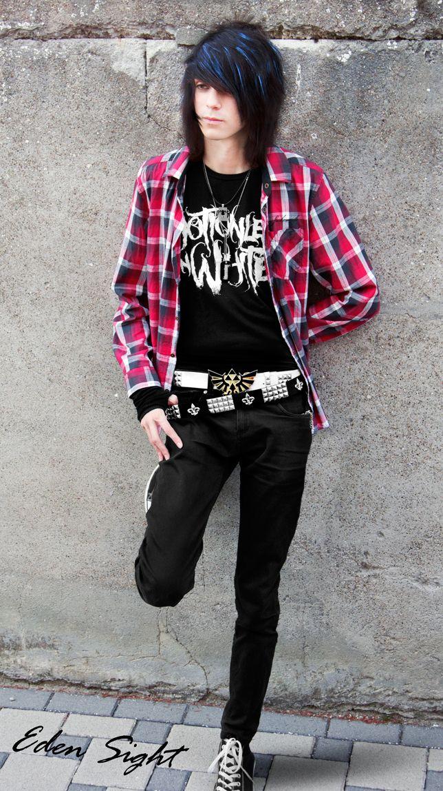 Blackblue Hair Emo Boy Look For The Anime Emo Punk Tech Movement