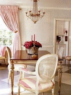 another pic of this pink dining room ...love striped chair