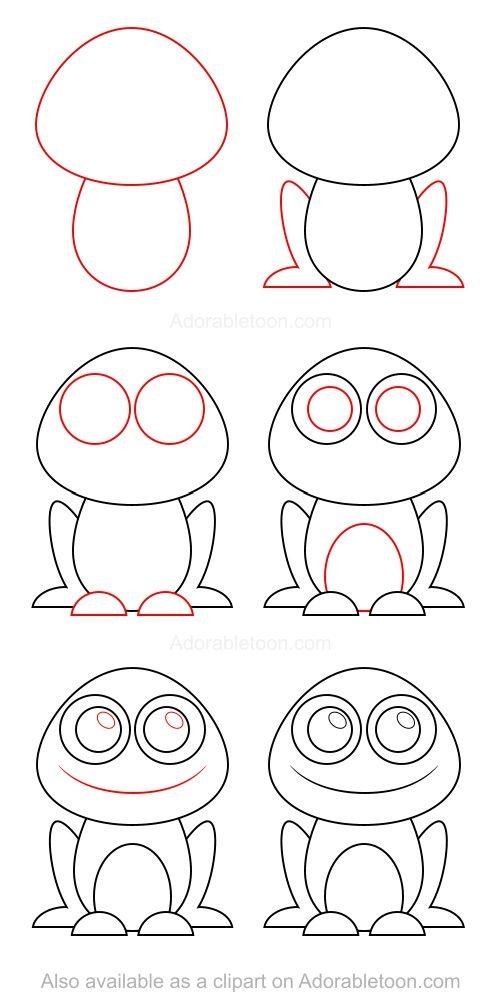 How to draw a frog | Teckningar, Lär dig rita och Bildkonst