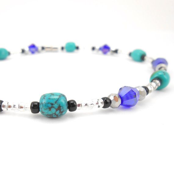 Ankle bracelet weather will be here soon, I hope!  Genuine Turquoise and Purple Crystal with Magnetic Clasp by TheJewelryBird, $25.00