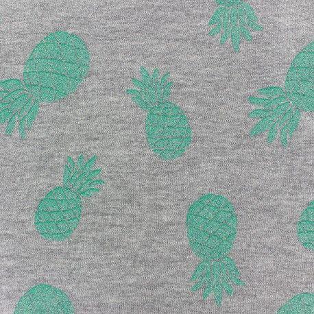 Tissu sweat Ananas glitter vert x 10cm