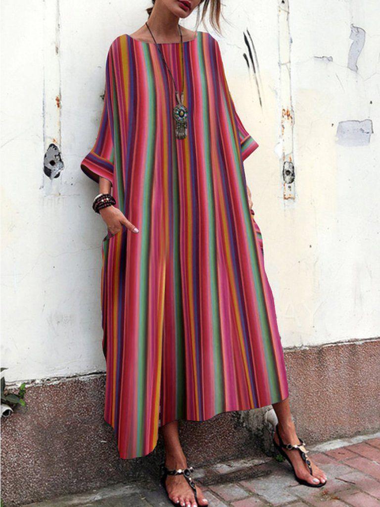 Bohemian striped bell sleeve maxi dresses dress silhouette maxi