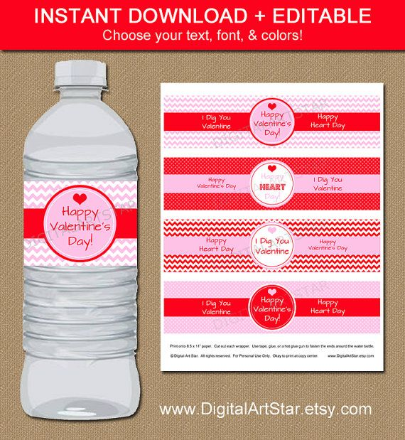 Personalize these editable #valentine water bottle labels yourself in Adobe Reader, $5 Learn more here: https://www.etsy.com/listing/219762597/printable-valentine-water-bottle?ref=sr_gallery_31&ga_search_query=pink+red+valentine+party+-invitation&ga_order=most_relevant&ga_page=2&ga_search_type=all&ga_view_type=gallery  by #digitalartstar