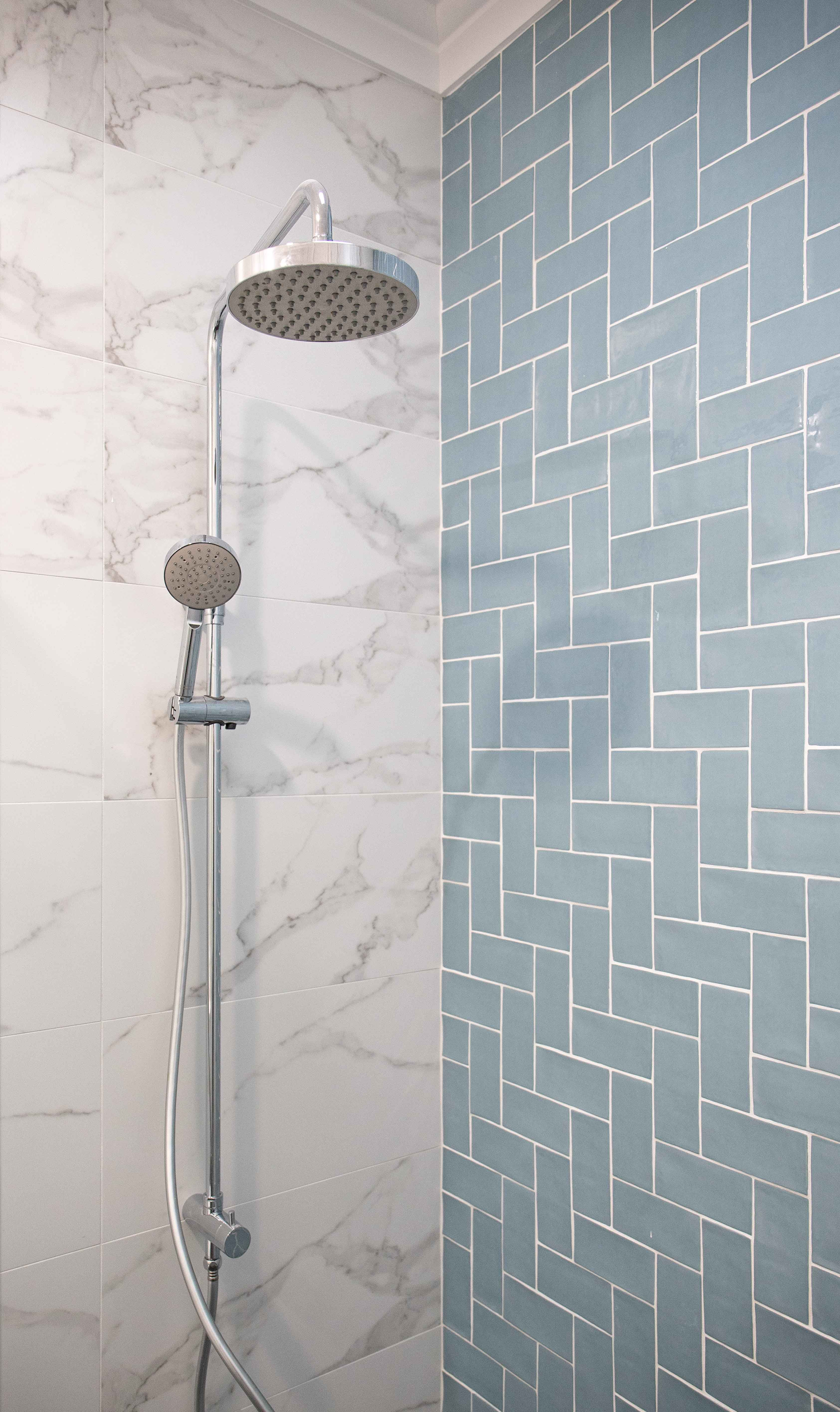 Hamptons Shower Area With Duck Egg Blue Herringbone And Marble Tiles Herringbone Tile Bathroom Marble Tile Bathroom Tile Bathroom