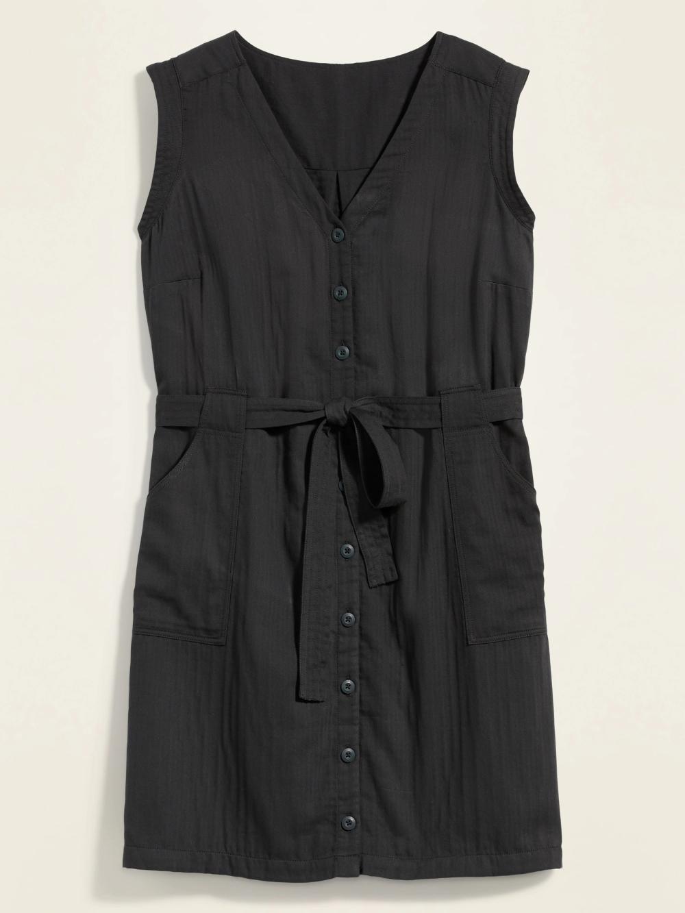 Photo of Button-Front No-Peek Tie-Belt Plus-Size Sleeveless Utility Dress