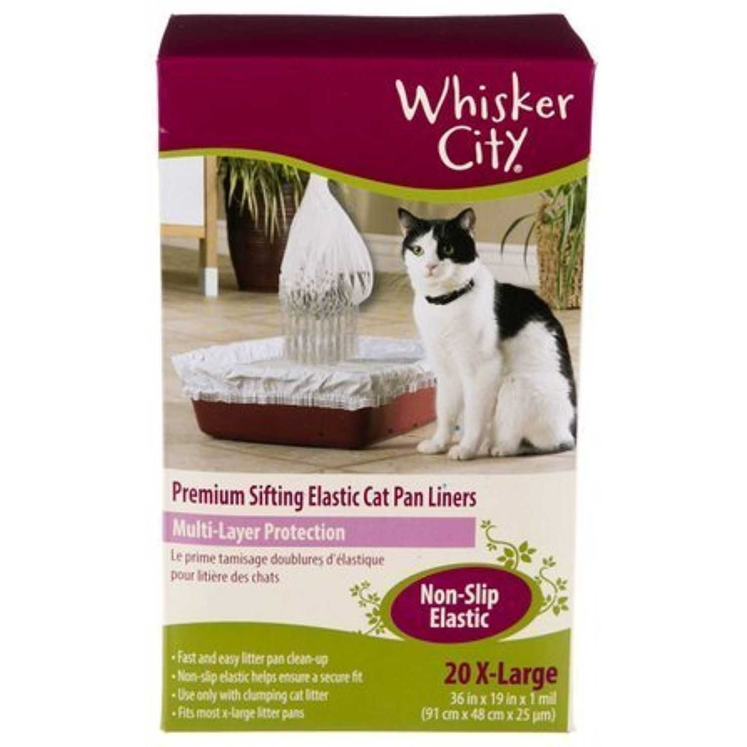 Whisker City Extra Large Cat Sifting Litter Box Liners, 20