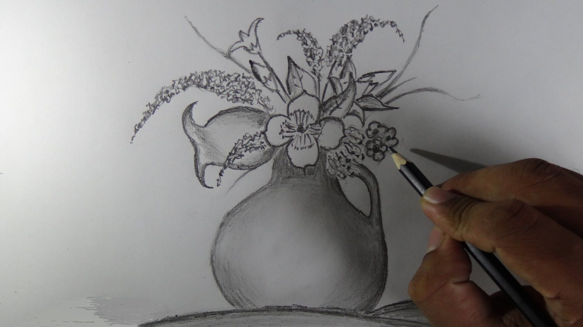 How To Draw A Flower Vase Pencil Drawing Youtube Flower Vase