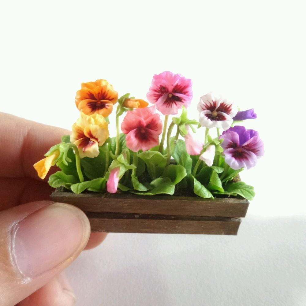 Purple Pink Pansy Clay Flower Ceramic Pot Dollhouse Miniature Tiny Handmade