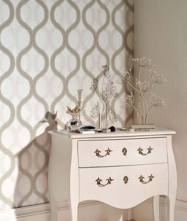 wohnzimmer tapeten beige geometrische muster alfadur