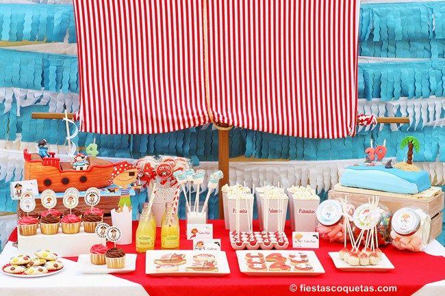 mesa dulce para la fiesta pirata otto