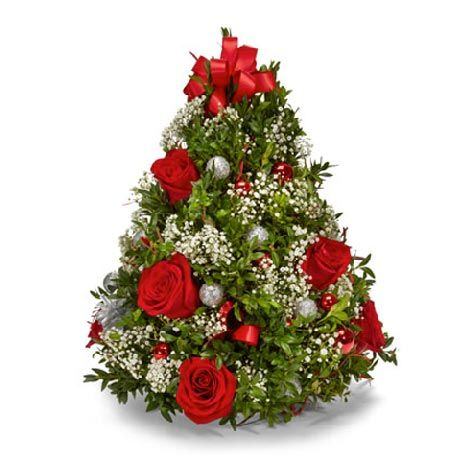 Christmas Tree Flower Arrangement At Send Flowers Christmas Tree Flowers Christmas Flowers Christmas Flower Arrangements