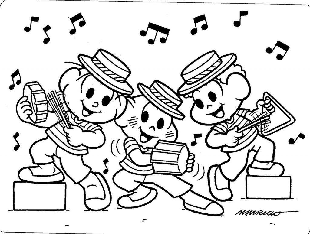 desenhos para colorir turma da monica musicos desenhos para