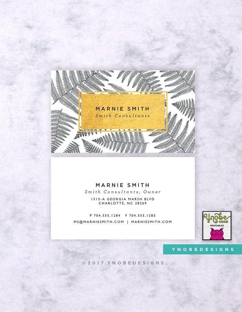 Faux Gold Foil, Floral Business Card, Leaves, Palm, Pink