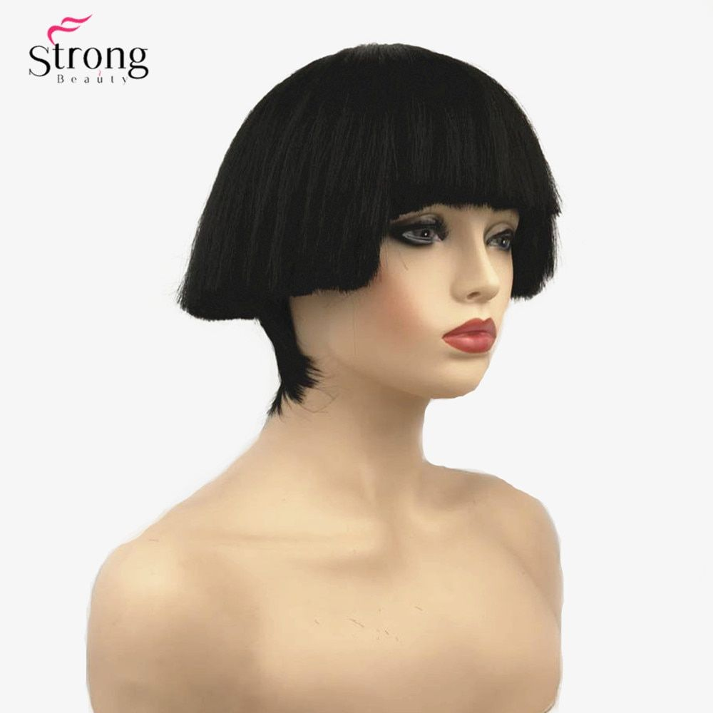 StrongBeauty Women s Synthetic Wig Short hair Shroom hairstyle Red Bowl  haircut Blonde White Wigs Bob 5bb0c53c2