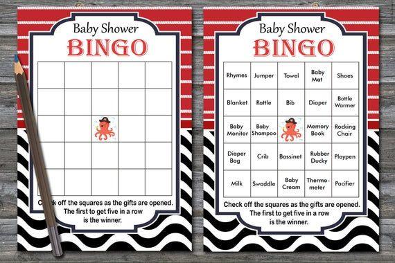 Nautical baby shower bingo cards, sea baby shower bingo, pirate baby shower bingo, octopus baby shower bingo cards, 60 bingo cards, BG049