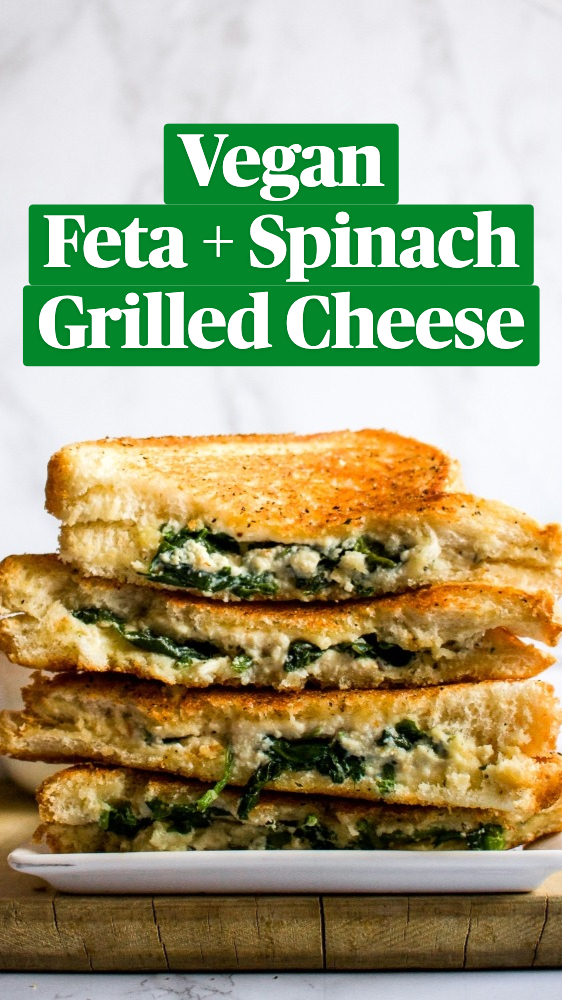 Vegan Feta + Spinach Grilled Cheese