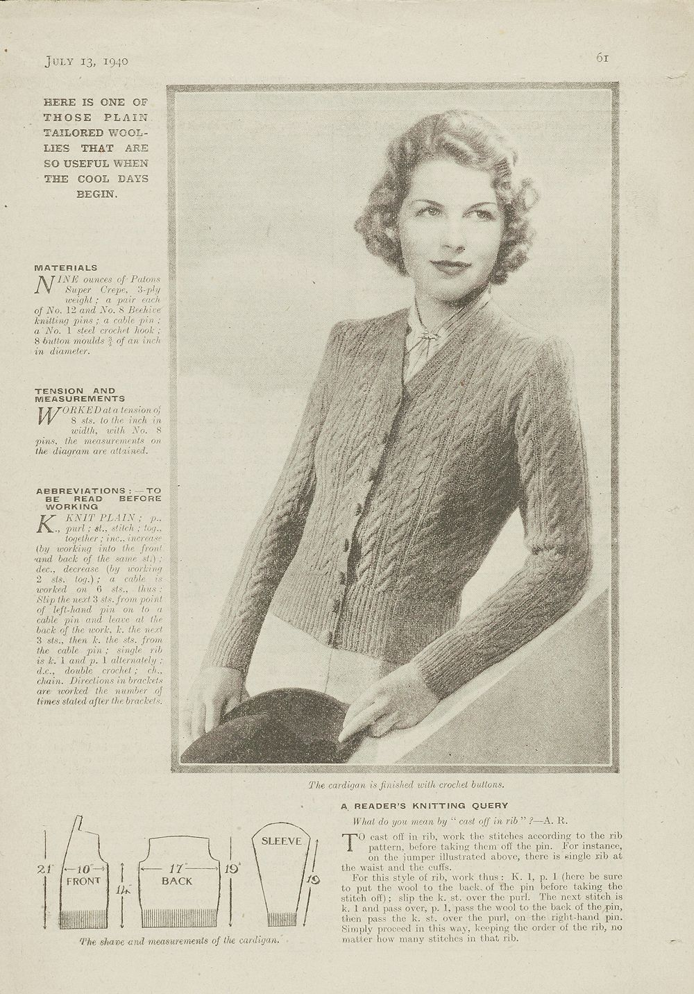 1940s Patterns to Knit | V&A .... from 1940\'s Womens Weekly ...