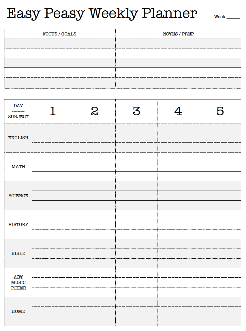 graphic regarding Free Printable Homeschool Planner titled No cost Printable. Basic Peasy Weekly Planner. Lesson System. Hard work