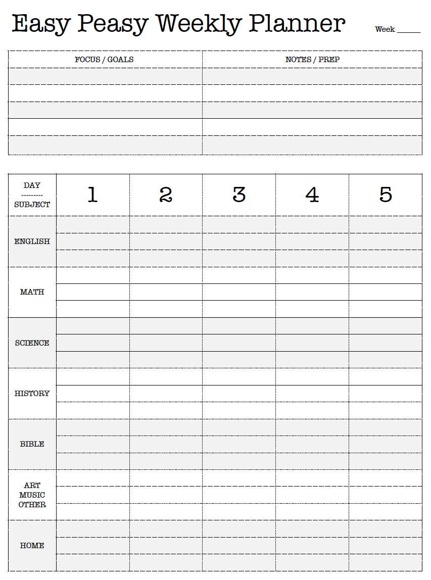 Free Printable. Easy Peasy Weekly Planner. Lesson Plan. Work Plan ...