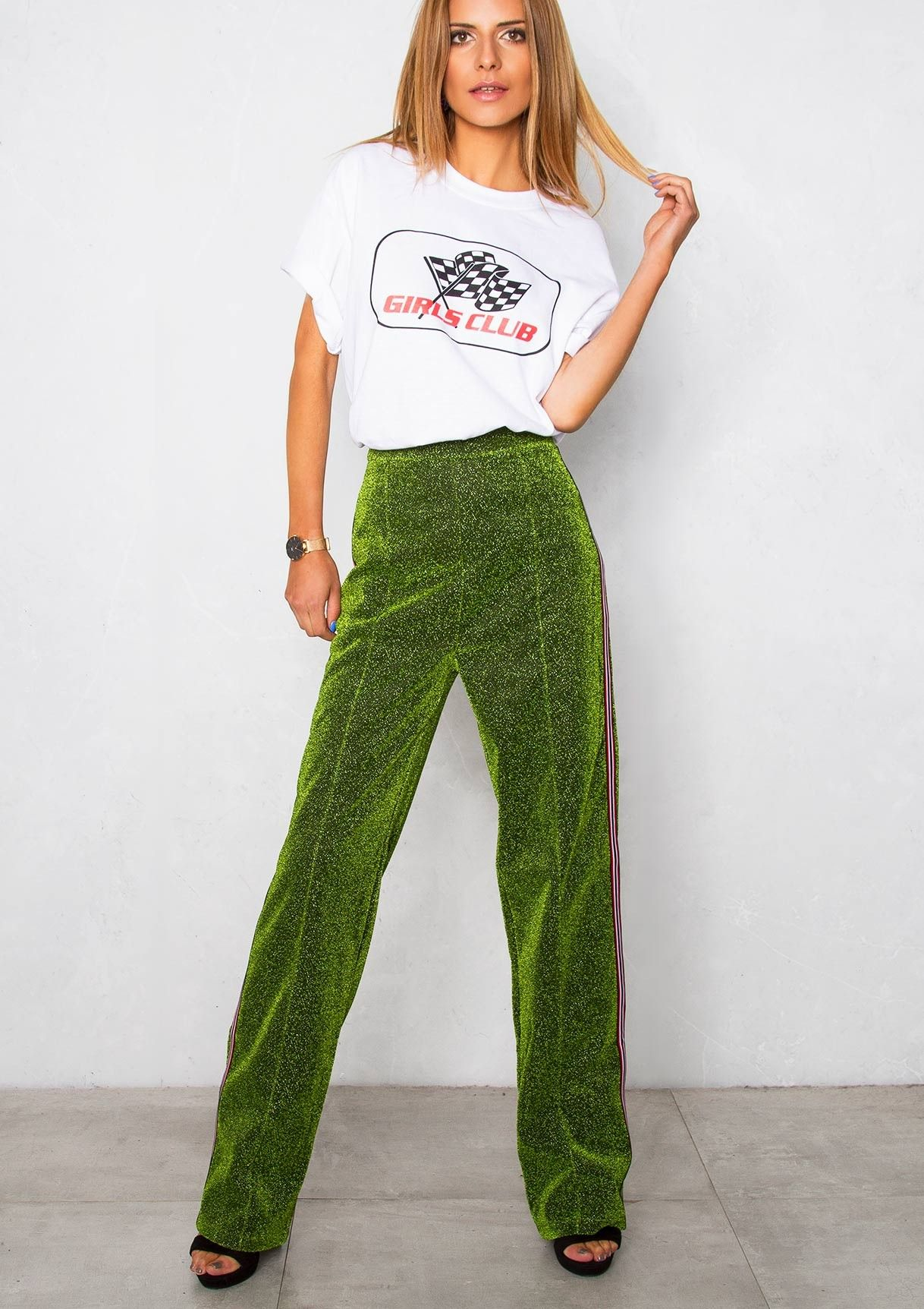 722db78920d771 Shelby Green Glitter Stripe Trousers in 2019 | A/W17 Things I need ...