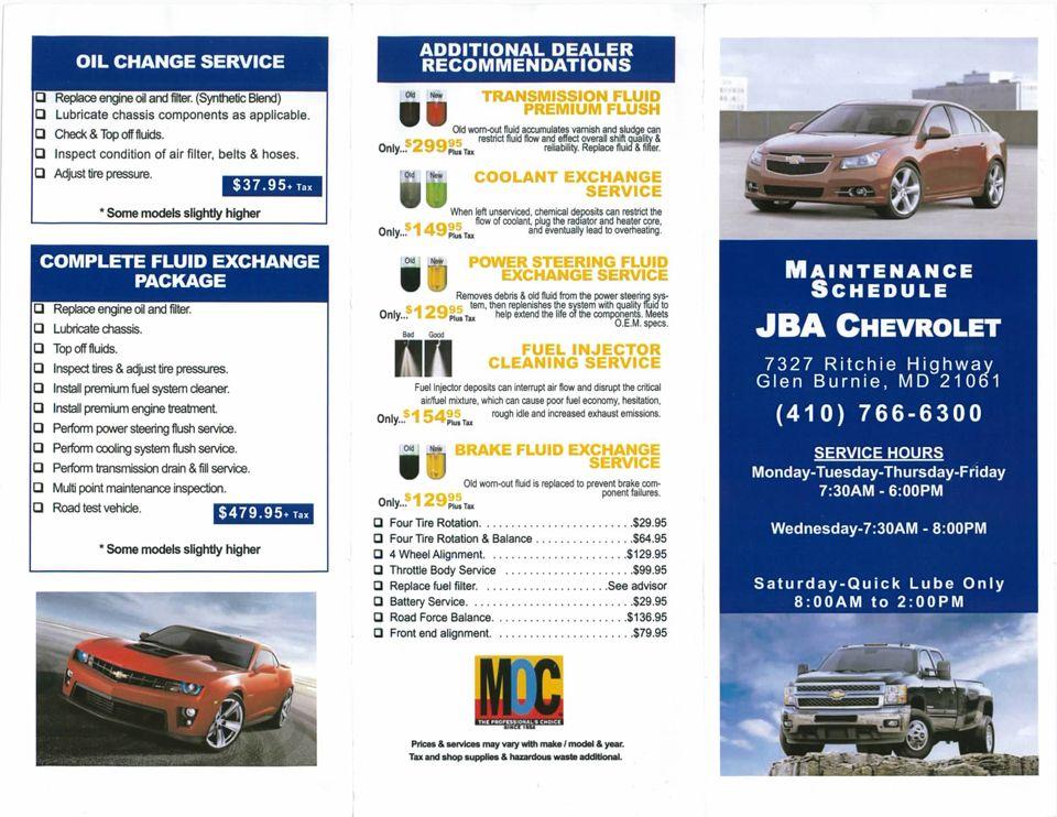 JBA Chevrolet Service Menu in Glen Burnie MD Oil change
