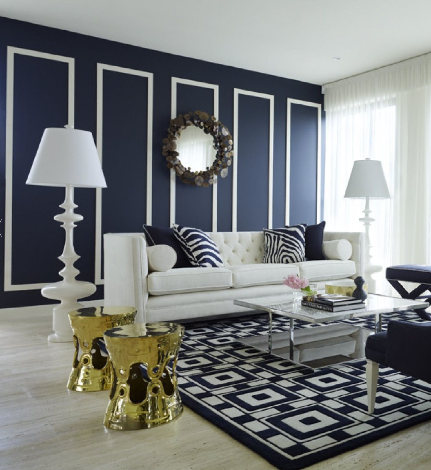 Greg Natale Navy Cream Brass Navy Blue Living Room