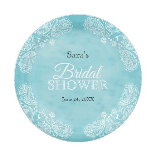 White Hand Drawn Paisley Teal Rustic Bridal Shower Paper Plate  sc 1 st  Pinterest & White Hand Drawn Paisley Teal Rustic Bridal Shower Paper Plate ...